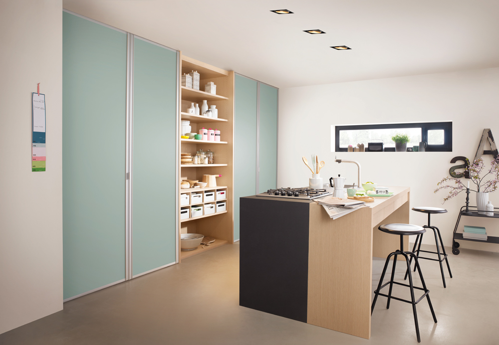 דלקוב--ארונות-בחדר-עבודה-עם-דלתות-בצבע-תכלכל